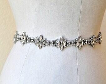 Bridal vintage rhinestone jewel sash. Silver marquise crystal wedding belt.  MARQUISE CLUSTERS