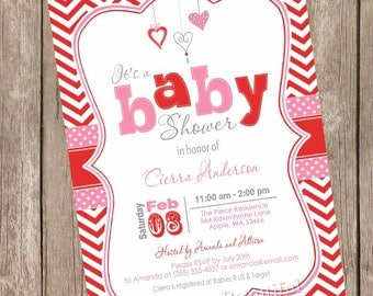 Valentine's Day Baby Shower Invitation, pink, red, chevron, hearts, lil' sweetheart, printable invitation  Hearts01