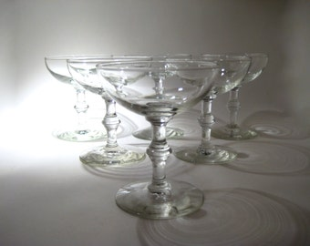 6 Champagne Glasses - Coupes - Vintage