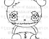 Digi Stamp Digital Instant Download Creepy Cute Zombie Panda Image No. 32 by Lizzy Love