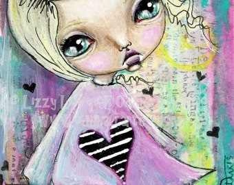 Mixed Media Big Eye Art Giclee Print Signed Reproduction Dreams No.1 by Lizzy Love [IMG#39]