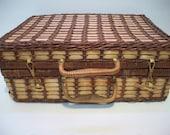 Vintage, Wicker Picnic Basket, Large Wicker Basket, Sewing Basket, Storage Basket, Decorating Basket,