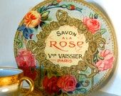 Vintage French Roses Perfume or Soap Label Sign, Ready to Hang, Handmade & Detailed Vintage Style