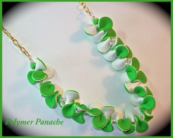 Lime Green and White Pinch Petal Statement Necklace Polymer Clay 21 in. Summer Necklace Handcrafated Green White Necklace Pinch PetalJewelry