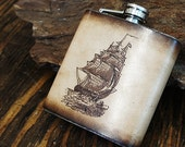 6oz Stainless Steel & Leather Hip Flask [Free Personalization] [Multicolor] [Pirate Ship]