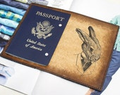 Passport Leather Cover - Mr. Rabbit - Customizable - Free Personalization