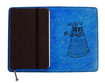 Moleskine Leather Notebook Cover [Large & Pocket Sizes][Customizable][Free Personalization] - Doctor Who Tardis