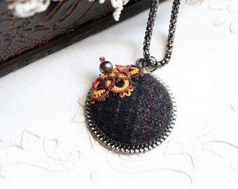 Autumn Fall Brown Gold Orange Wool Fiber Round Pendant Necklace