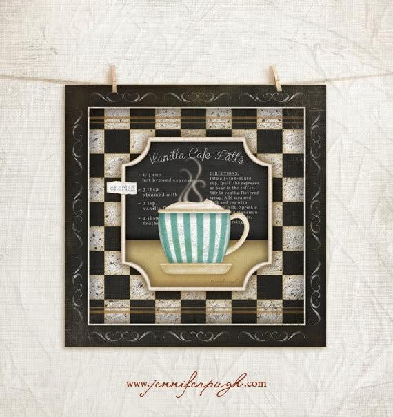 Coffee Espresso Latte Cafe Ivory Brown Kitchen Curtains: Kitchen Cuisine Coffee IV-Vanilla Cafe Latte 12x12 Art Print