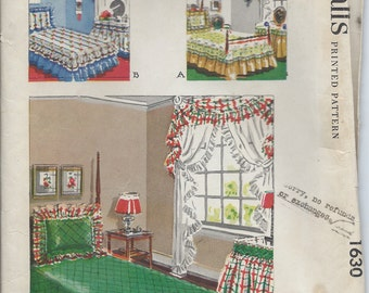Early 50s Home Decor Sewing Pattern McCall's No. 1630 Twin Bed Coverlet, Dust Ruffle and Shams