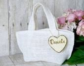 Burlap small flower girl bucket / basket  White Basket Personalized Wooden Heart , Rustic, Shabby Chic bridesmaid favor bag