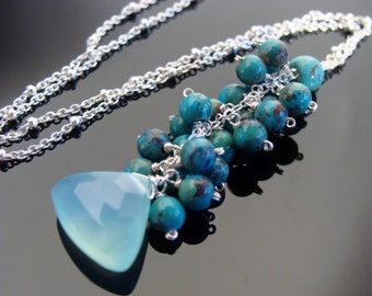 Sky Blue Chalcedony and Turquoise Sterling Silver Necklace