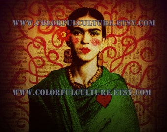 Mi Frida- Print of Original Art by Laura Gomez -Archival Matte Paper -Frida Kahlo Prints- Frida Kahlo Art - Frida Kahlo Mixed Media
