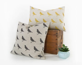 Personalized Graphic Bird Pattern Pillow Case | Pick your Ink Color - Fabric - Size 12x18 or 16x16 | Decorative Pillow For Couch or Chair