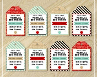 Ice Cream Party - Favor Tags - Ice Cream Birthday - Party Favors