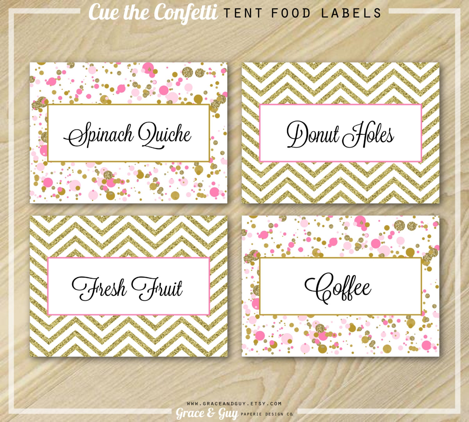 Confetti Party Pink and Gold Food Labels Buffet Labels