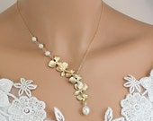 Gold Orchid Necklace -  Pearl Necklace Wedding Jewelry, Bride, Bridesmaids Gift, Unique Wedding Necklace, Gold Bridal Jewelry,