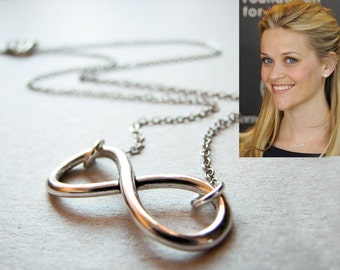 Silver Infinity Necklace, Reese Witherspoon Inspired, Celebrity Inspired Choker, Bridal Infinity Necklace, Anniversary Gift, Bridesmaid Gift