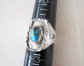 Primitive Old handmade Turquoise Sterling Silver Ring size 12