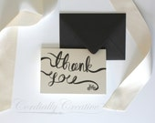 """Thank You Card, Folded with grey Envelope, featuring my hand painted """"thank you"""" and bicycle watercolor illustration with grey envelope"""