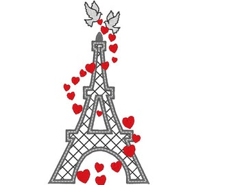 Eiffel tower and love - machine embroidery applique and filled designs - 5, 6 and 7 inches  INSTANT DOWNLOAD