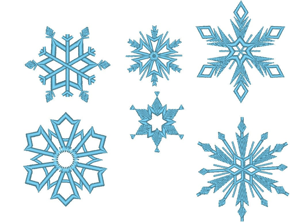 6 Snowflakes Machine Embroidery Design Files Separately