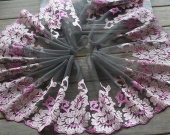 2 Yards Embroidered Lace Trim Deep Blue Tulle Lace Trim Purple Floral Embroidered Lace 7.87 Inches Wide