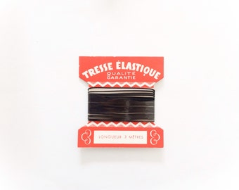 Black Elastic Trim, Vintage French Supplies, Original Card