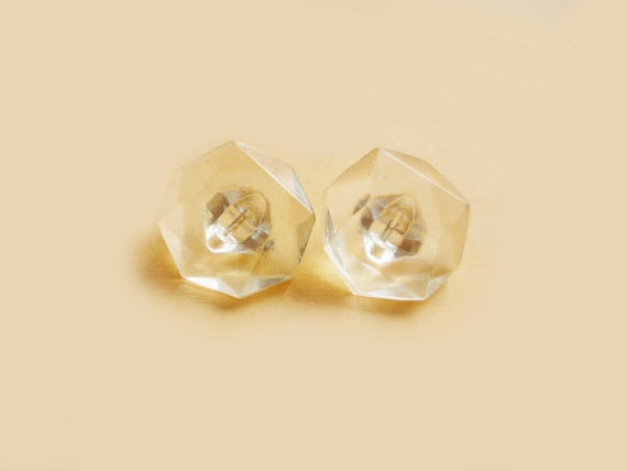 Vintage Buttons, 2 Clear Faceted Buttons