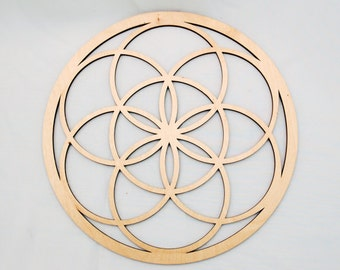 "12"" Seed of Life Wall Art - Raw Wood Home Decor"