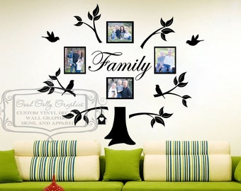 Family tree vinyl wall decal for photo collage