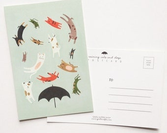 Raining Cats and Dogs Postcard 8 Pack