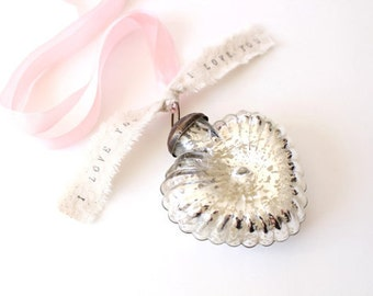 Personalized Wedding Decor .  Mercury Glass Heart Ornament shabby chic wedding decor