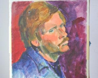 Vintage Oil Portrait: Man with Mustache