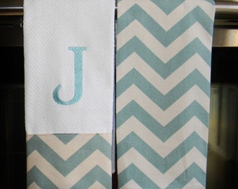 Monogrammed  Kitchen Towels or Hand Towels  in Village Blue/Natural Chevron | Housewarming Gift | Hostess Gift | Gifts for Her | Wedding
