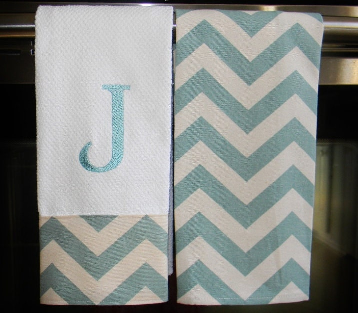 Monogrammed Kitchen Towels Or Hand Towels In Village