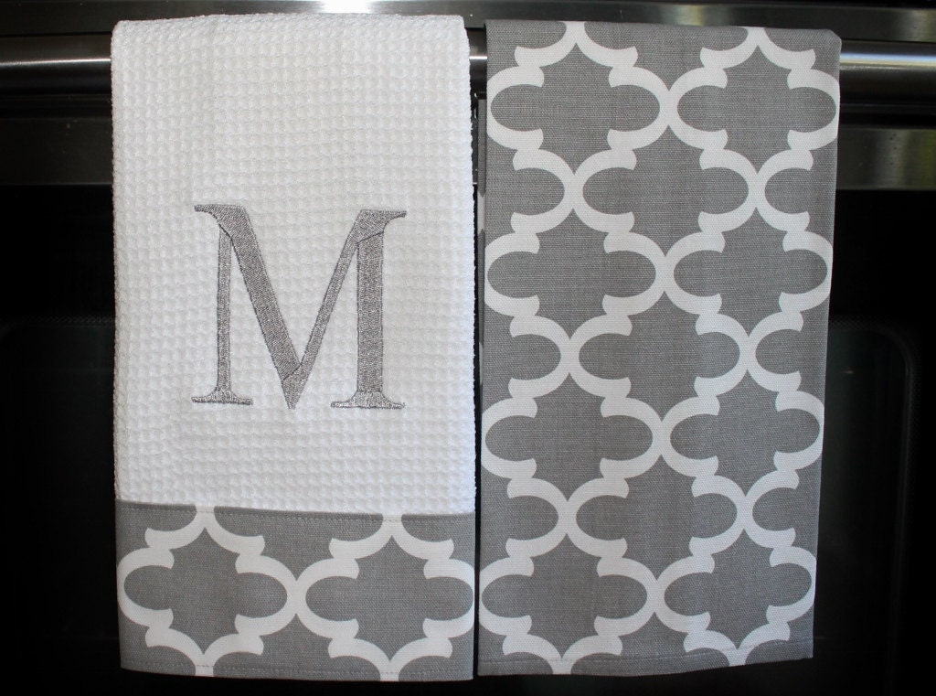 Monogram Kitchen Towels Or Hand Towels In Grey By Designsbythem