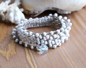 White Pearl crochet wrap bracelet, long necklace, shabby boho chic, bridesmaids gift, beach wedding, feminine, Bohemian bridal jewelry