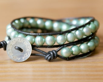 Mint Pearl bohemian beaded leather wrap bracelet, double wrap, freshwater pearls, shell natural organic, SALE, shabby, chic, trendy