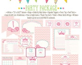 LIttle princess pink chevron 1351 package Matching games, ticket, banner, bingo, thank you card, water bottle wraps, cupcake toppers