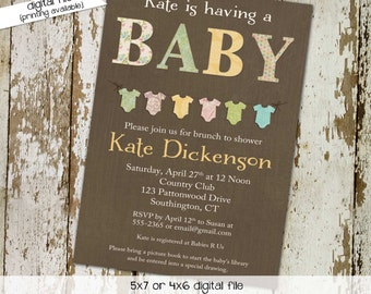 gender neutral baby shower invitations bunting bodysuit banner sprinkle diaper couples stock the library (item 1447) shabby chic invitations