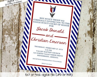 eagle scout court of honor invitations graduation announcement stripe patriotic red blue scout troop bash (item 602) shabby chic invitation