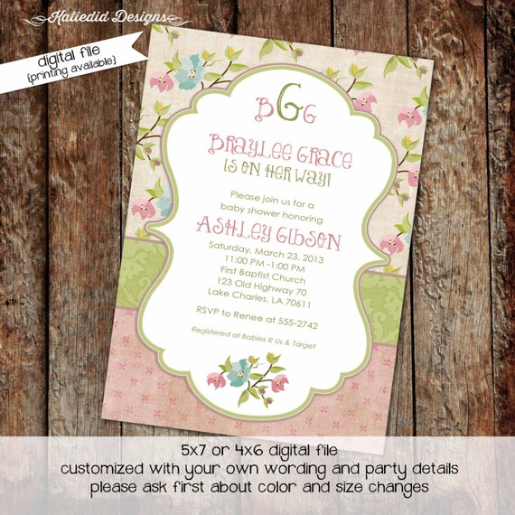 Baby girl shower invitation floral monogram baby sprinkle gender reveal bash baby blessing coed baptism (item 1314) shabby chic invitations