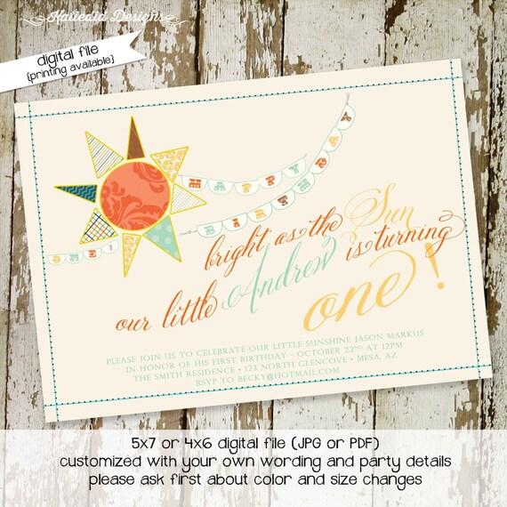 sunshine birthday invitation brighter than the sun you are my sunshine gender reveal baptism christening (item 201) shabby chic invitations