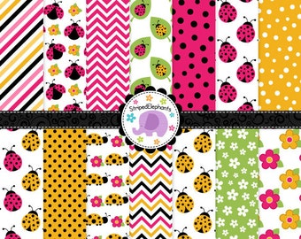 Lady Bug Digital Papers - Pink and Yellow, Lady Beetle Digital Scrapbook Paper Pack - Instant Download - Commercial Use