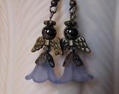 Angel Earrings Perfect African American Black Hematite Face 5-Petal Flower Lt Blue Dress Antique Bronze Metal Wings Halo - Hanging