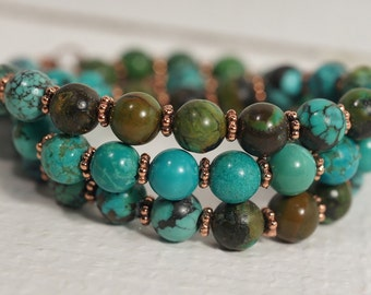 African Turquoise Necklace Natural Turquoise Stone Necklace Gemstone Necklace Turquoise and Copper Necklace