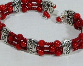 Red Coral Beadwork Bracelet /Memory Wire/  Gemstone Bracelet