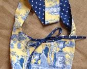 Blue & Yellow Toile Reversible Hobo Bag-READY TO SHIP