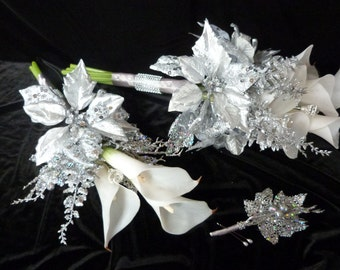 4 piece Silver winter wedding bouquet and boutonniere set white calla lilies and silver poinsettia